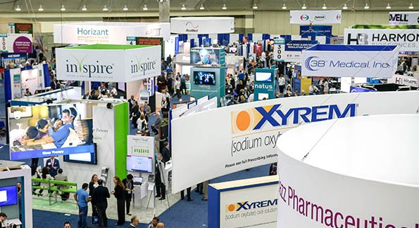 view of exhibit hall from above at SLEEP 2018
