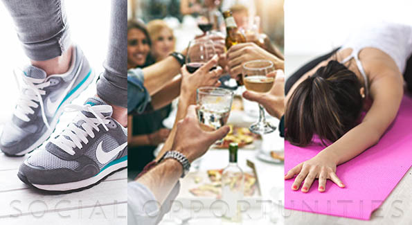 combination of three photos - up close tennis shoes on feet, group of friends drinking and clinking glasses in a restaurant; young woman stretching face down on a yoga mat